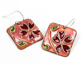 Rose Earrings with cherry blossoms