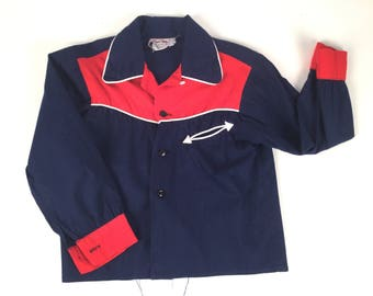 "Vintage 50s Boys Navy Blue Western Shirt with Red Yoke & White Piping, Kids Rodeo Shirt, Kids Western Wear, Cotton Cowboy Shirt, C 28"""