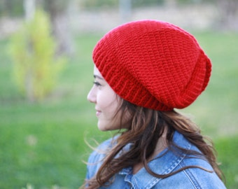 Red crochet slouch hat for women