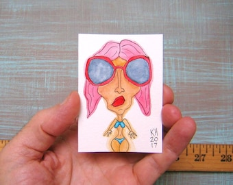 Supermodel Natalia-J81, Original ACEO Watercolor, Art Card, Miniature Painting, by Fig Jam Studio