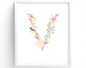 Multi Sizes Letter V, Pink and Blue Floral, Printable Letter Monogram, Nursery Art. Art Prints, Baby Girl Nursery, Wall art Prints