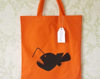 Angler Fish Hand Screen Printed Cotton Tote Bag