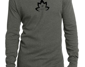 Men's Yoga Shirt Black Namaste Lotus Thermal Tee T-Shirt = DT118-BNLOTUS