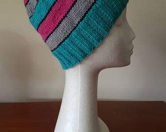 Ladies Hand Knitted Beanie - Turquoise/Pink/Grey