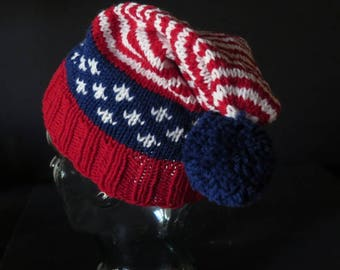 Hat - Short Stocking Hat - Red White and Blue - Patriotic Hat - One Size Fits Most - Hand Knit