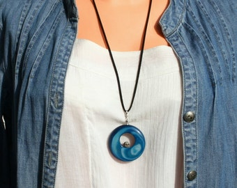Blue agate pendant, long necklace, gemstone jewerly, blue necklace, agate medallion, free shipping