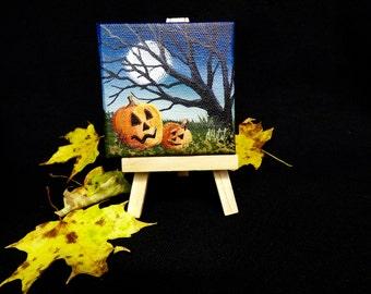 Pumpkin Love   Mini Halloween Painting on Easel
