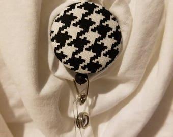 Black and white houndstooth badge holder