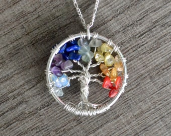 Sterling Silver Tree of life Pendant, Chakra Gemstones, Family Tree Necklace