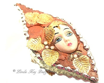 The Fall Brooch Leaf Doll Face Assemblage Pin Soldered Broach One-of-a-Kind Soldered Mixed Lorelie Kay Original