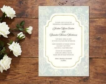 Pale Blue Damask Wedding Invitation Suite; Invitation, Reply, Vintage