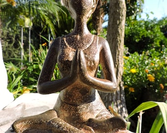 Lotus Praying Goddess ~ Lotus Meditating Woman Statue ~ Simulated Antique Stone Resin ~ SALE + Reduced S/H