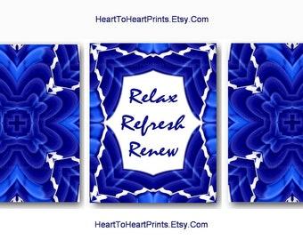 Navy Bathroom Wall Art Navy Bathroom Decor Blue Bath Set of 3 Relax Refresh Renew Blue Bathroom Art Prints Blue Abstract Bathroom Wall Decor