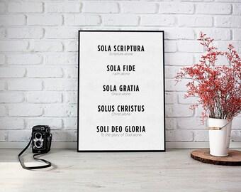 Five Solas Art Print, Sola Gratia Art, Sola Fide Art, Solus Christus Art, Sola Scriptura Art, Soli Deo Gloria Art Print, Reformation Art