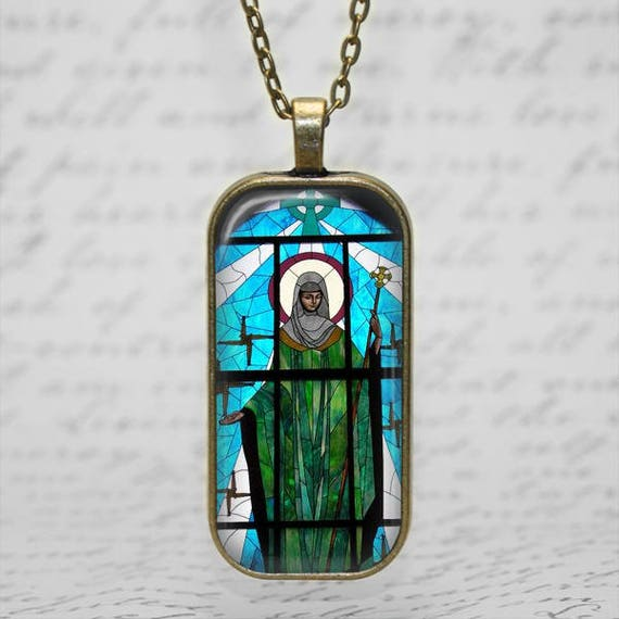 Saint Brigid of Ireland Stained Glass Art Pendant - Catholic Jewelry, Catholic Saint Necklace, St Brigid Cross