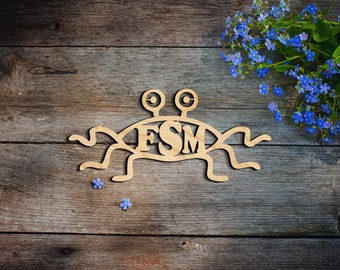 Flying spaghetti monster sign wall decor - Wall Hanging - Home Decor - Porch Decor - wood hanging wall art sign decoration birch church fly