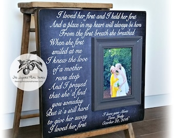 I Loved Her First, Mother of the Bride Gift, Personalized Picture Frame, Wedding Gift for Parents, 16x16 The Sugared Plums Frames
