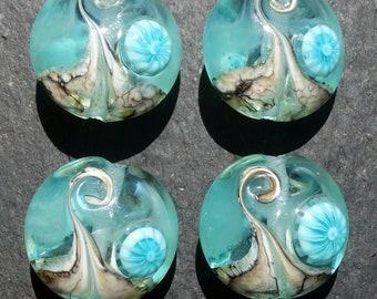 Lampwork Large Lentils (4) Watery Wave w/teal murrine
