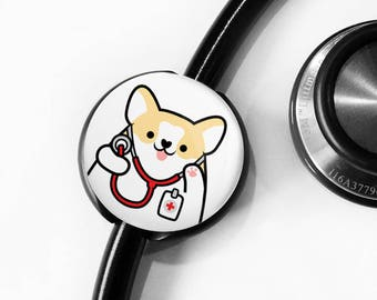 Customizable Stethoscope ID tag, Personalized Stethoscope ID tag, Nurse Gift, Doctor Gift, Corgi Stethoscope Tag, Veterinarian Stethoscope