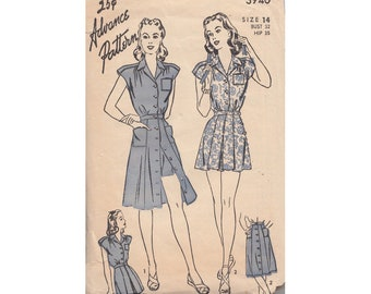 1940s Playsuit Romper and Front Button Skirt Vintage Advance Sewing Pattern 3940 Size 14 Bust 32 Pleated Romper Extended Shoulders