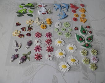 x 1 multicolored mixed tape sttickers 3D pattern flowers/animals set