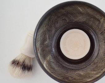 Stoneware Shaving Mug, Hand Thrown Black Shaving Dish, Textured Wet Shaving Bowl, Shaving Cup, Gift for Him