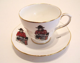 Souvenir Whitehorse Yukon Tea Cup and Saucer Panning for Gold Made in England