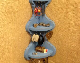 Upcycled Jewelry Organizing Display (Blue Corner Shelf)