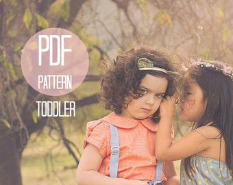 Peter Pan Collar Blouse Pattern Puff Sleeve Girl Baby Toddler Size 18-24 months 2T 2 3T 3 Easy Sewing Pattern Baby Clothes Beginner Project