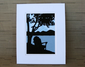 Adirondack Chair by Lake Wall Art Nature Scenery Paper Cut Art 8X10 Unframed