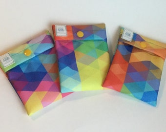 Colorful Triangles Mini Wet Bag, Menstrual Pad Bag, Green Lifestyle Pad Wrapper, Tampon Holder, Menstrual Cup Pouch, Washable Cloth Pad Bag