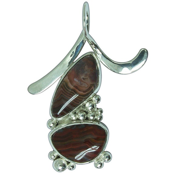 Crazy Lace Agate and Sterling Silver Two Stone Pendant  pczlg2460