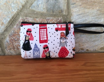 Wristlet Purse in Mod Girls Print Cotton in Red, Black and Blue Colors on a White Ground