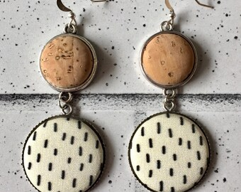 Fabric Button Earrings, Cork, Statement Earrings, Black and Cream, Modern, Minimal, Unique, Silver dangle
