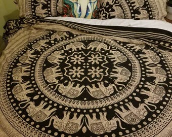 Mandala Bedding, mandala Tapestry, Indian tapestry, Elephant tapestry, wall hanging, Indian bedding, wall tapestry, hathi tapestry