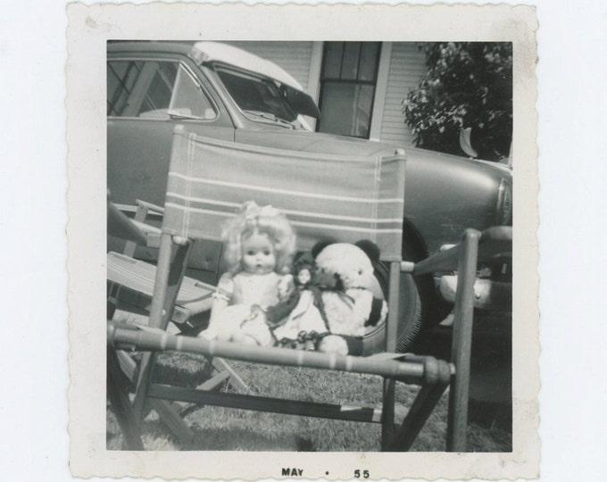 "Vintage Snapshot Photo ""Judy & Teddy Bear,"" 1955 (610508)"