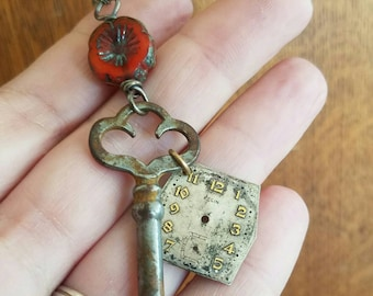 Vintage Skeleton Key Necklace - Steampunk Red- All Sterling Silver with Czech Glass Crystal and Old Watch Face Accents - Handmade
