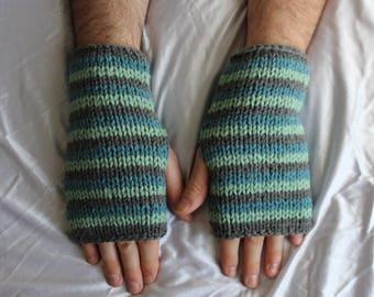 Fingerless Gloves - Men's Gloves - Blue and Grey Gloves - Men's Wrist Warmers - Gloves for Men - Ready to ship