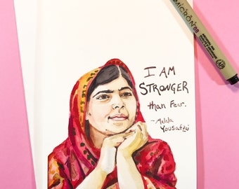 Malala portrait and Inspiring quote, 5x7 card, Ready to Ship