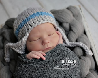 gray blue baby  boy knitted hat, newborn photography prop, baby shower gift, baby photo prop, infant earflap beanie