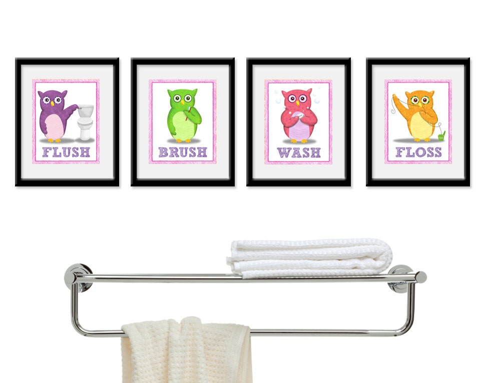 Kids Bathroom Art Childrens Girls Wall Decor Owls For