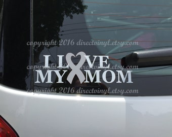 Gray Awareness Ribbon Love My Mom Window Decal (Brain Tumor, Brain Cancer, Allergies, Aphasia, Asthma, Diabetes, Parkinson's)