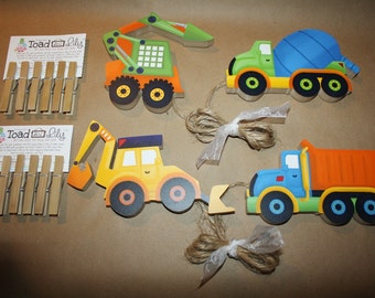 Two Sets of Bright Construction Truck Wooden Boys Wall Art Display Clips for Kids Bedroom Baby Nursery Playroom