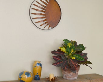 Twelve Ray Sun Metal Wall Sculpture Housewarming Gift