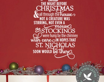 Twas the Night Before Christmas Stockings Vinyl Sign Wall Home Decor Holiday Decal Sticker