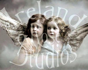 Angels of Love-French Postcard-Digital Image Download