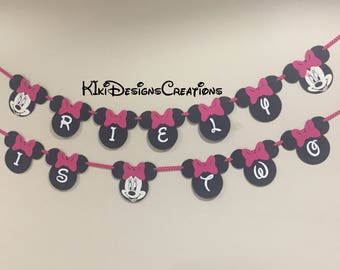 Minnie Mouse Banner Mickey Mouse Baby Shower Banner / Garland / Sign / Decoration / Party / Minnie and Mickey Mouse / Twins / Disney