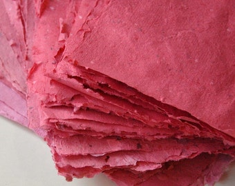 Handmade Paper- Cherry-Berry Red Eco-friendly Pack of 10 Letter Size Sheets