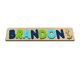 Jungle Friends Personalized Wooden Name Puzzle With A Giraffe Navy, Green, Light Blue Personalized Gift for Boy 572322080