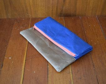 Navy Canvas & Brown Waxed Canvas Foldover Clutch / Pink Zipper / Minimalist Clutch